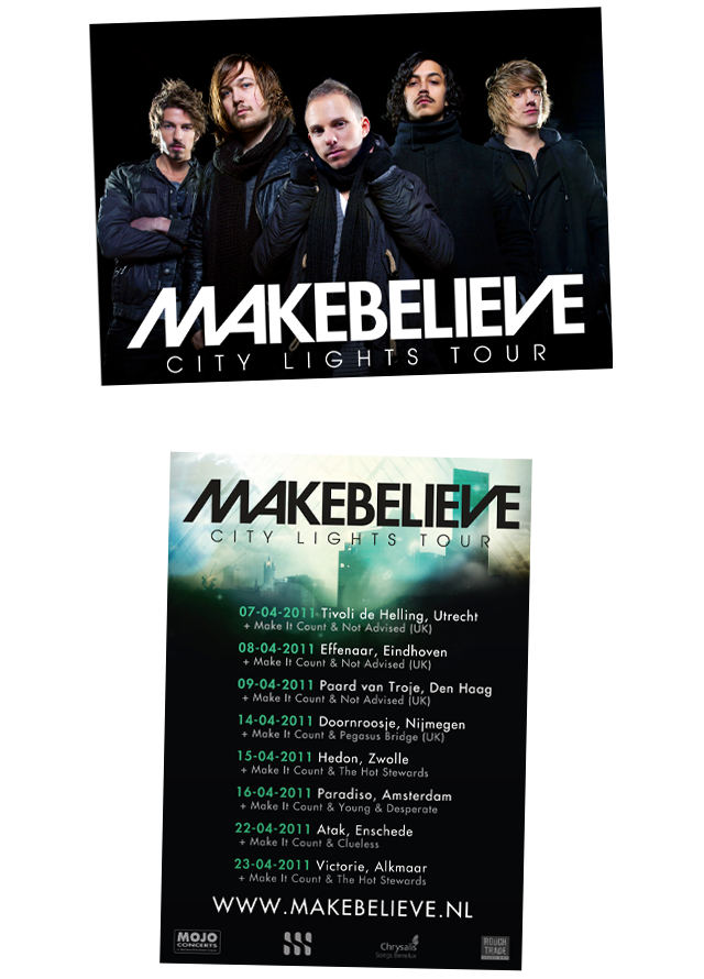 Flyers for the band Makebelieve.