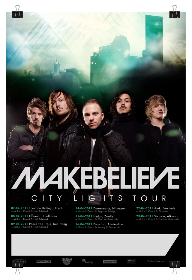 Tourposter for the band Makebelieve.