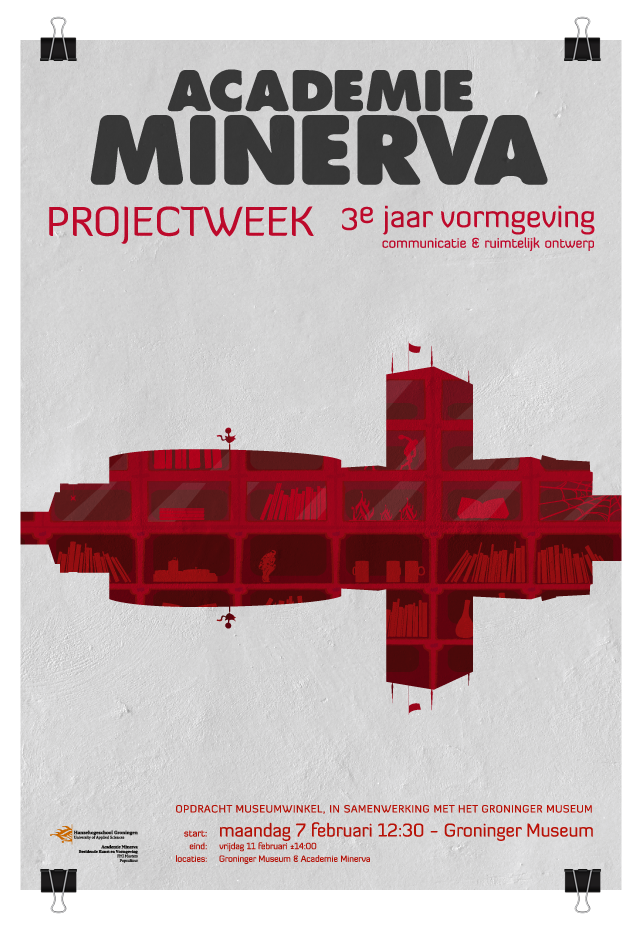 Poster to announce the Academie Minerva projectweek in the Groninger Museum.